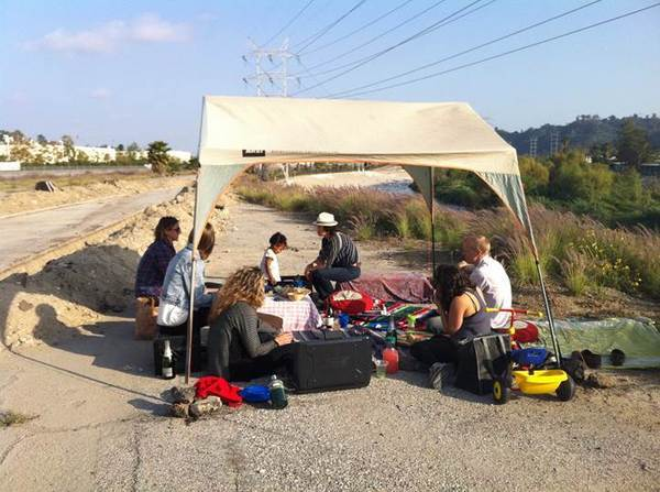 A picnic on the Bowtie parcel by the L.A. River   Photo: Lila Higgins