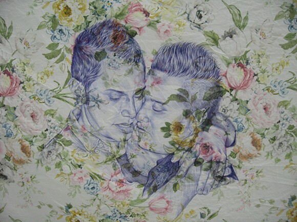 A portrait drawn by Shizu Saldamando with a ballpoint pen on bedsheets