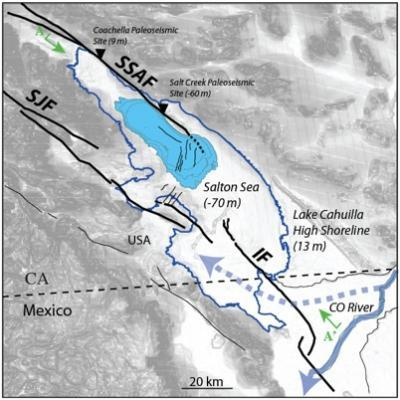 Salton Sea boundaries and outline of Lake Cahuilla, with major area faults | Scripps Institution