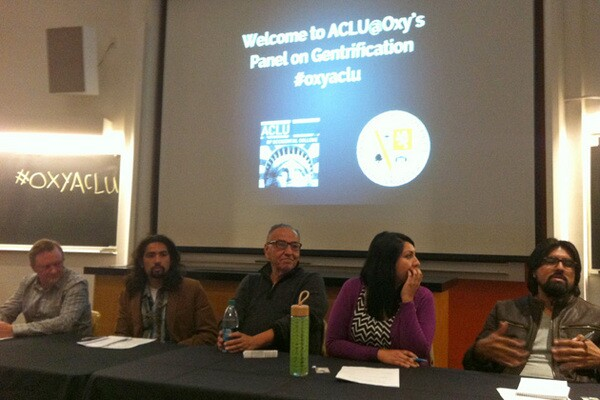 The panel on gentrification at Occidental College   Photo: Jan Lin