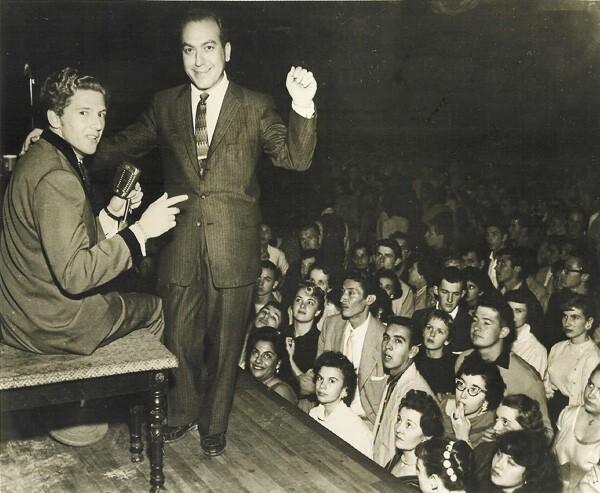 Jerry Lee Lewis, Art Laboe, concertgoers at El Monte Legion Stadium ca. 1957 | Courtesy of Art Laboe Archives