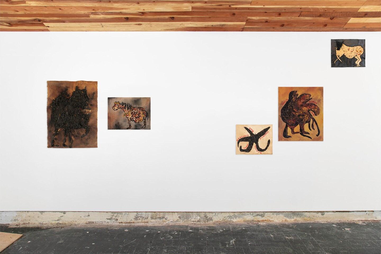 """Installation view, Akina Cox, """"Apokalypsis""""   Photo: Walker Olesen, Courtesy of the artist and BOZOMAG"""