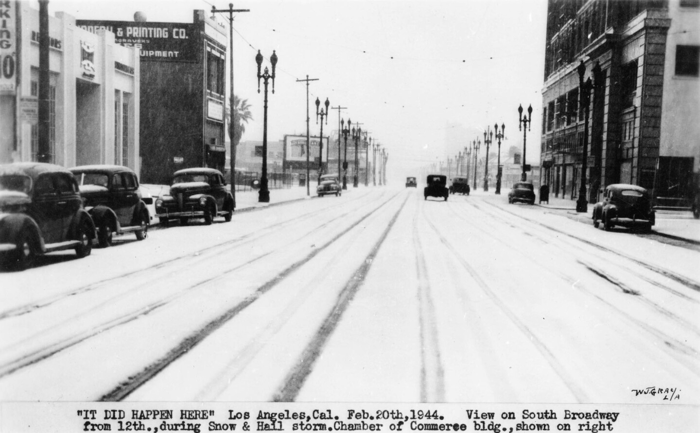 Snow on Broadway at 12th in downtown Los Angeles, 1944
