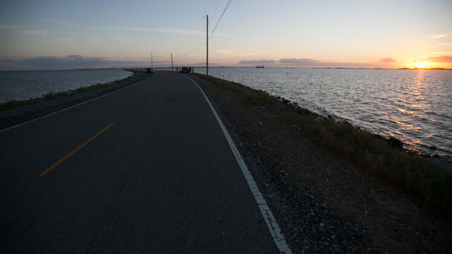 The only road connecting Isle de Jean Charles to the rest of Louisiana.  | Nicky Milne/Thomson Reuters Foundation